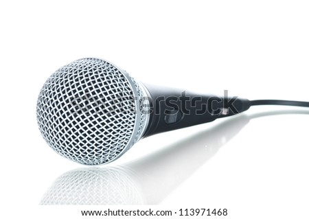 Black microphone with black wire isolated on white