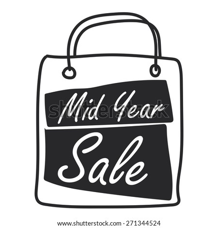 Black Mid Year Sale Shopping Bag Label, Banner, Sign or Icon Isolated on White Background - stock photo