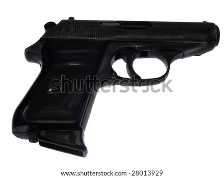 black 9 milimeter gas gun at the white background