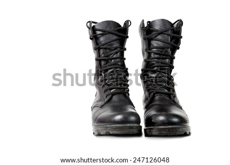 Black military boots - stock photo