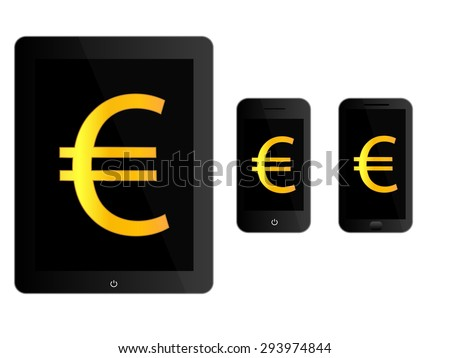 Black Mobile Devices with Euro Sign - stock photo