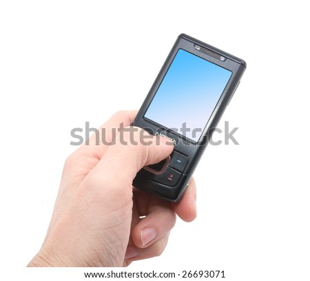 black mobile phone with blue screen in left hand isolated on white background