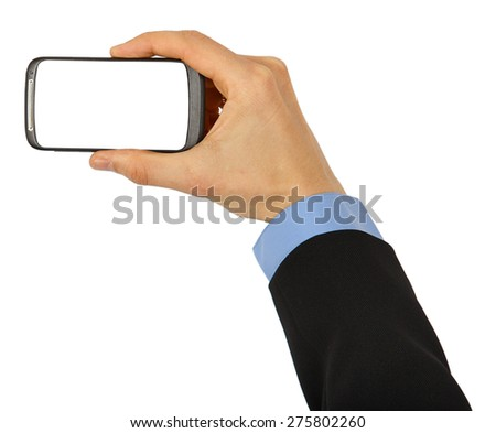 Black mobile phone with clipping path for the screen in male hand isolated on white background