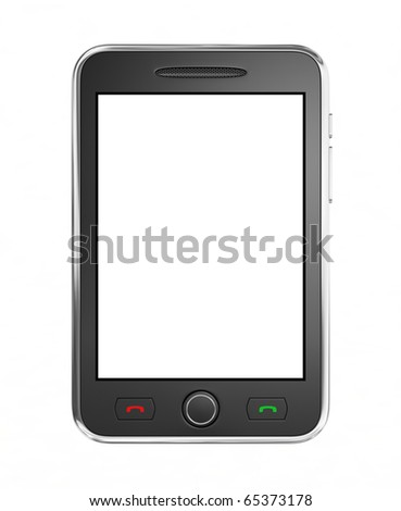 Black mobile smart phone isolated on white.  This is a detailed 3D render.
