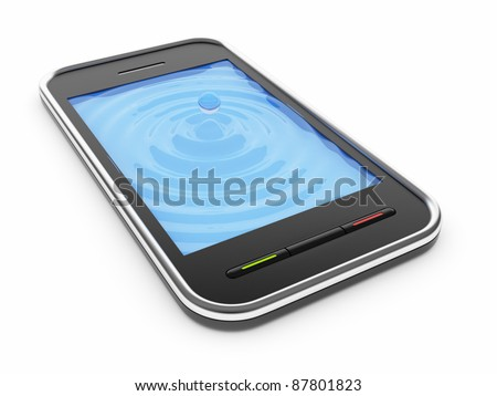 Black mobile smart phone with watery blue screen 3D. Icon. Isolated on white - stock photo