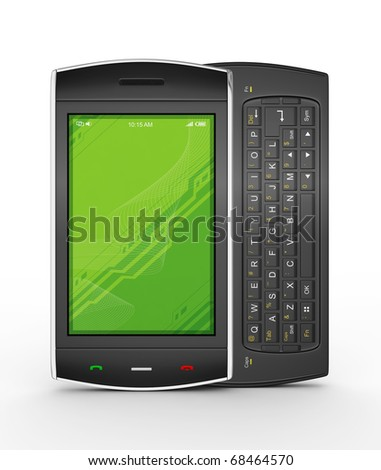 Black mobile smartphone isolated on white. This is a detailed 3D render.