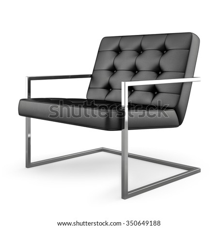 Black modern armchair isolated on white background 3D rendering - stock photo