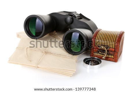 Black modern binoculars with old letters isolated on white