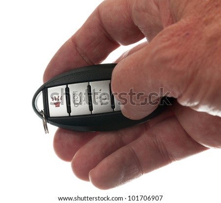 Black modern car door opener and keyless entry device with thumb pressing lock