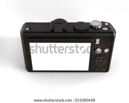 Black modern compact digital photo camera - back top view - stock photo