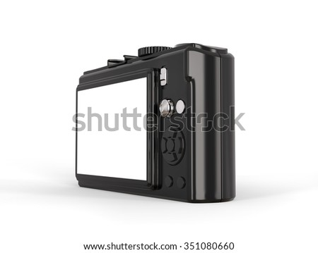 Black modern compact digital photo camera - lcd viefinder. - stock photo