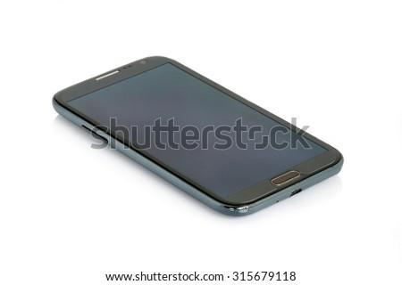 Black modern smartphone isolated on white background. - stock photo
