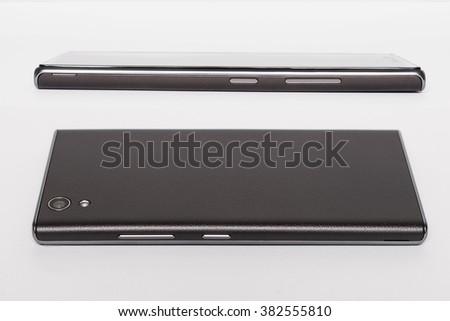 Black modern smartphone isolated on white background. Elements - stock photo