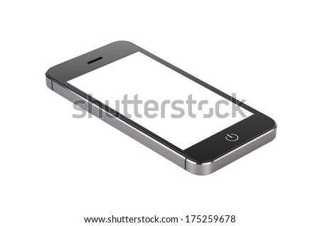 Black modern smartphone with blank screen lies on the surface, isolated on white background. Whole image in focus, high quality. - stock photo