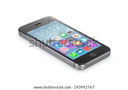 Black modern smartphone with flat design application icons on the screen lies on the surface, isolated on white background. Whole image in focus, high quality.