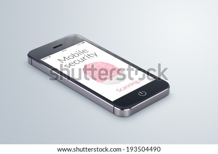 Black modern smartphone with mobile security fingerprint scanning on the screen lies on the gray surface. - stock photo