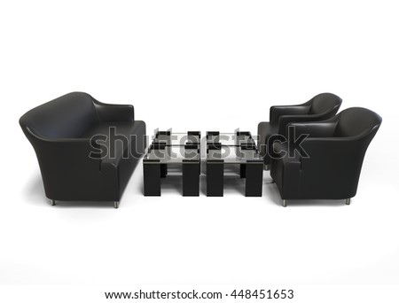 Black modern sofa with two black armchairs and coffee tables - 3D Render - on white background