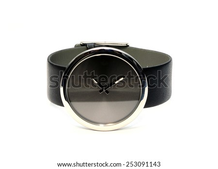 Black modern wrist watch isolated on white