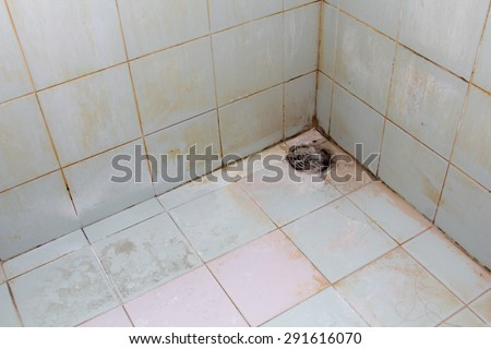 Black mold growing on shower tiles in bathroom. - stock photo