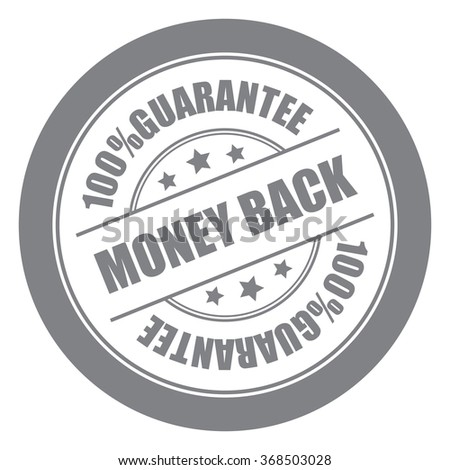 Black Money Back 100% Guarantee Campaign Promotion, Product Label, Infographics Flat Icon, Sign, Sticker Isolated on White Background  - stock photo