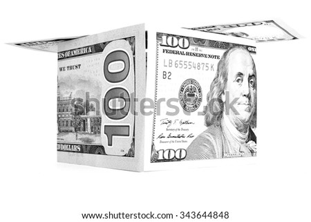 Black money shack, dollar cabin, currency hutch banknote house - stock photo