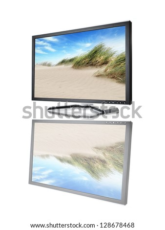 black monitor on white background - stock photo