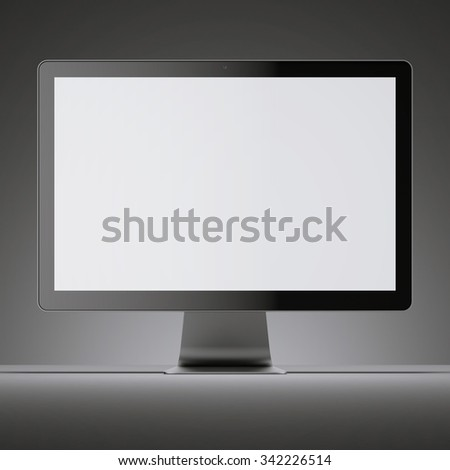 Black monitor screen with blank display