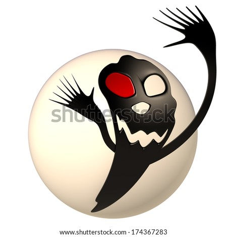 Black monster on the sphere, 3D