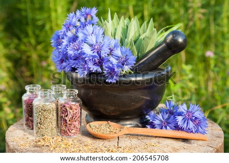 Black mortar with blue cornflowers, sage, wooden spoon and glass bottle. Herbal medicine - stock photo
