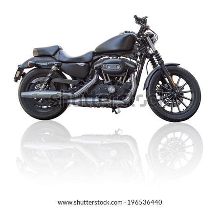 Black motorbike isolated - stock photo