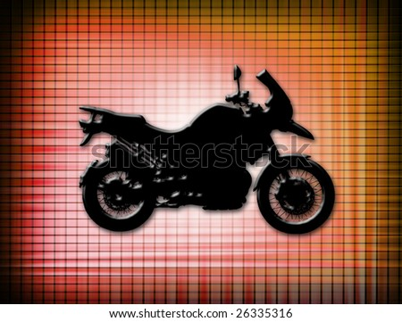 black motorcycle on red background. abstract design - stock photo