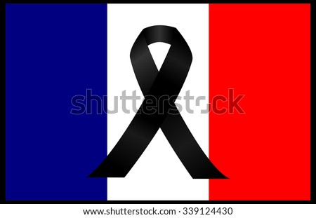 black mourning ribbon on a flag of France - stock photo