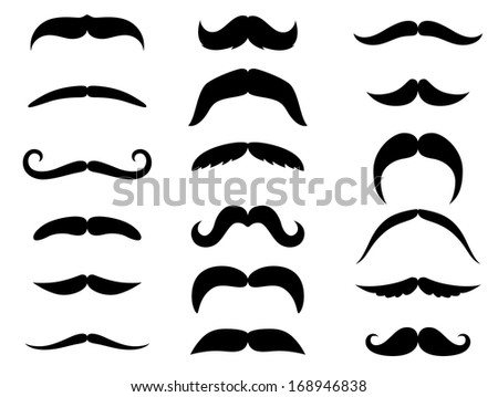 Black moustaches set isolated on white background. Vector version also available in gallery