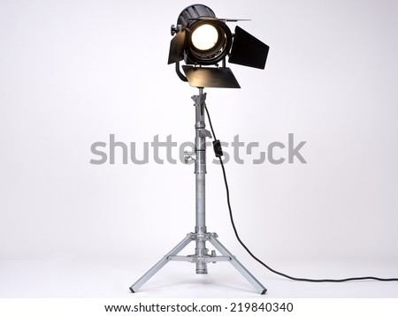 Black Movie Studio Light on a metal stand isolated on white background