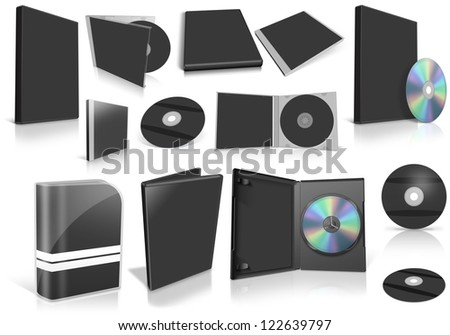 Black multimedia disks and boxes on white background. Ready to be personalized by you.