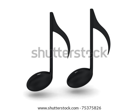 Black music notes - stock photo
