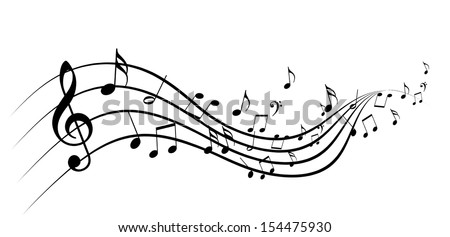 black music notes on a solid white background - stock photo