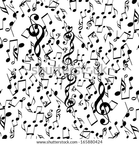 black music notes on a solid white background