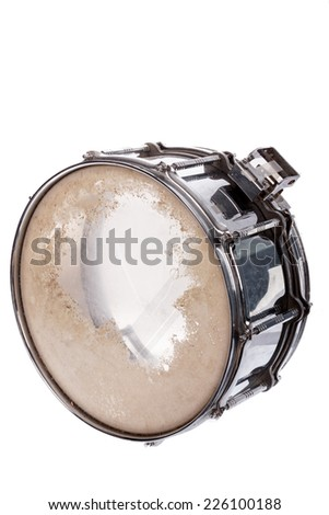 black music plywood snare drum isolated on white background - stock photo