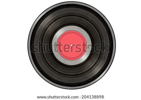 black music record isolated on white background - stock photo