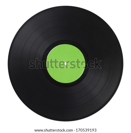 Black Music Record With Green Label Isolated on White Background.