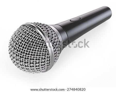 Black musical microphone with chrome grid isolated on white background. Musical instrument