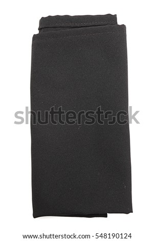 black napkin on a white background
