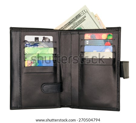 Black natural leather wallet isolated on white background. Expensive man's purse closeup. Wallet filled up with money and plastic cards - stock photo