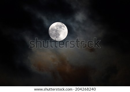 black night sky with moon and clouds