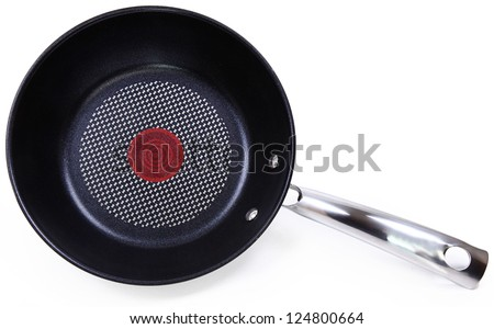 Black Non-Stick Frying Pan Isolated On White Background - stock photo