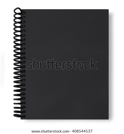 black note book isolate on white background with shadow