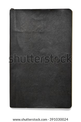 Black note book isolated on white background in front view with clipping path. - stock photo