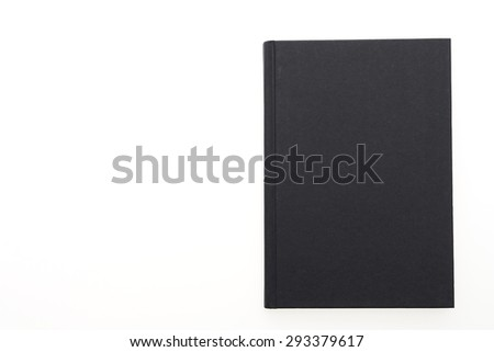 Black note book paper isolated on white background