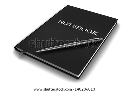 Black notebook with pen on a white background.